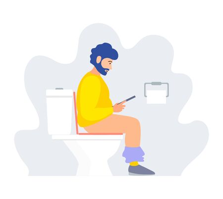A man sits on the toilet and reads. Vector illustration in a flat style. A person in the toilet on the potty side view. Cartoon character.