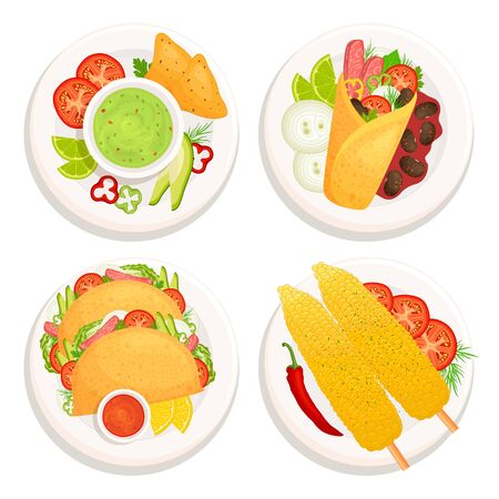 Set of mexican food on plates top view. Traditional mexican cuisine. Vector illustration in fly style. Dishes with food and ingredients isolated on white background. Burrito, guacamole, tacos, elote. Ilustrace