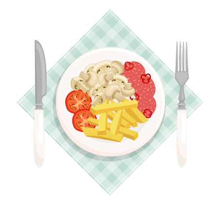 Fried potatoes with mushrooms, sausage and tomato slices on a plate top view. Hearty lunch served on a salat. Vector illustration in cartoon style. A delicious dish with french fries.