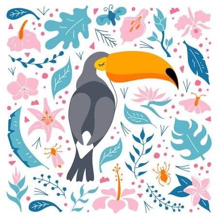 Cute toucan on the background of a tropical pattern. Bright children's illustration in flat style. Vector. Exotic bird of paradise among foliage and flowers.