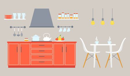 The interior of the kitchen and dining room with furniture and utensils. Modern flat style room. Vector illustration on the theme of interior design, repair, relocation and space planning.