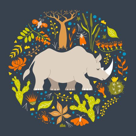 Childrens illustration with a rhinoceros among flowers and herbs. Hand-drawn round frame.