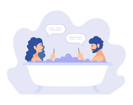 Young couple man and woman wash in the bathroom and chat with each other. Joint pastime of a couple. Vector flat concept illustration. Activities in Lockdown and Isolation. Fun and relax at home. Ilustrace