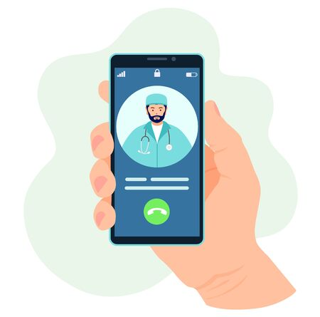 The doctor is calling on the phone. Online medecine. Vector. Ilustrace