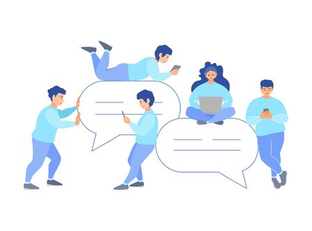 People around chat bubbles chat online. Vector. Internet messaging. Ilustrace