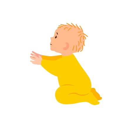 Little sad child pulls his hands. A lonely abandoned baby reaches out and asks not to leave him. A tiny orphan. Vector illustration in flat style. The child reaches to be picked up.