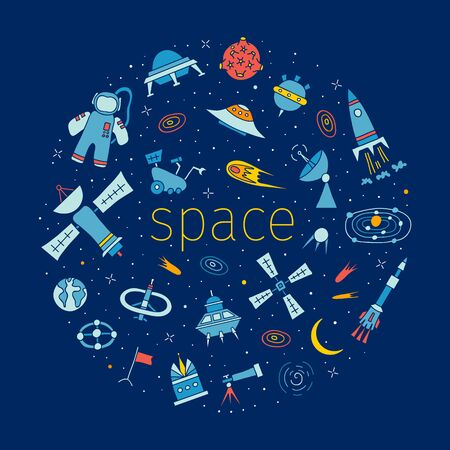 Set of elements on the theme of space and astronautics in doodle style. Hand-drawn vector.