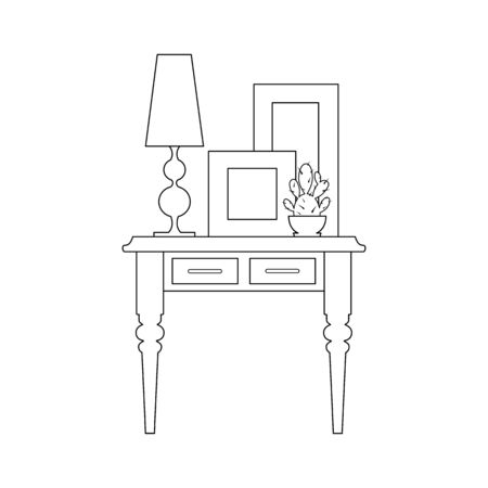 Composition of furniture, paintings and lamps in a linear style. Vector illustration. Home decor outline,