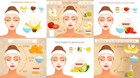 Set of infographics in recipes for homemade face masks. Vector. Personal care at home.