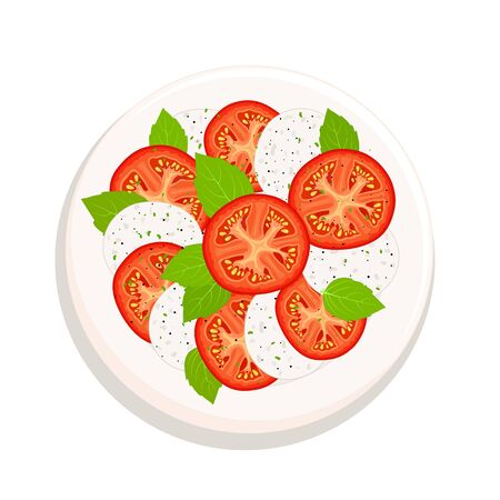 Traditional italian caprese salad on a plate. Vector. View from above.