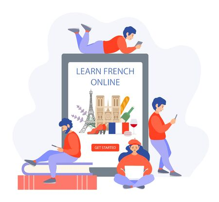 French language learning. Online education. Vector concept for courses and online schools.