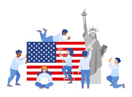People unite around national symbols of the country of the flan and the statue of liberty. Joint preparations for US Independence Day. Illustration