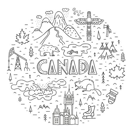Stylized travel map of Canada. Hand-drawn round composition. Vector frame. Ilustrace