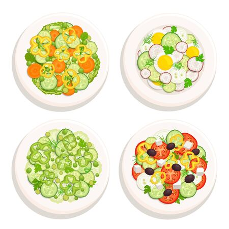 Set of salads isolated on a white background. Salads on plates top view. Vector illustration in cartoon style. Tasty and healthy vegetable food.