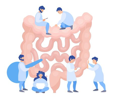A team of doctors checkup the intestines. Tiny people examine the organ and make a diagnosis. Banner on the prevention of intestines disease. Vector flat concept. Treatment.