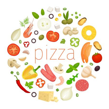 Lettering Pizza with ingredients around. Round vector frame. Template