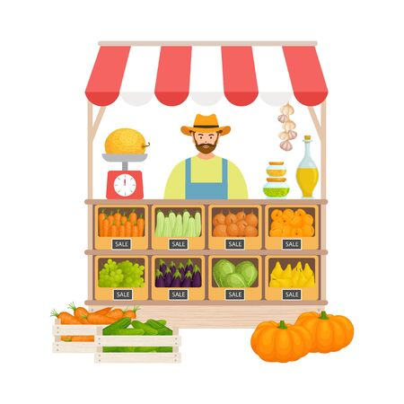 A farmer sells food, vegetables and fruits at a stand. Vector.