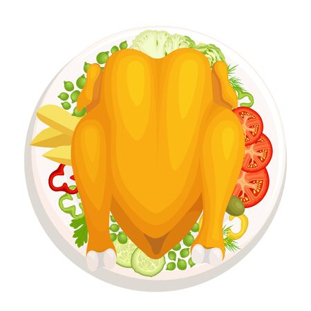 Baked chicken with a golden crust on a plate with a side dish. Top view. Vector.
