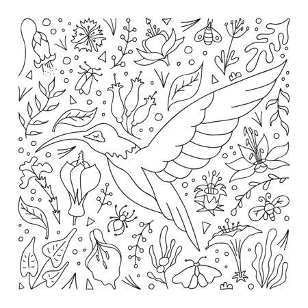 Outline hummingbird surrounded by flowers and tropical foliage. Hand-drawn pattern for coloring book. Vector.