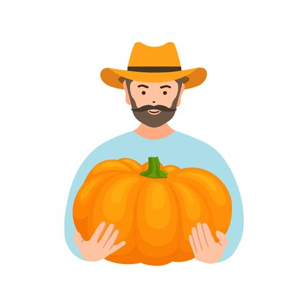 Farmer with pumpkin in the cookies. Vector illustration. Harvesting and selling crops.