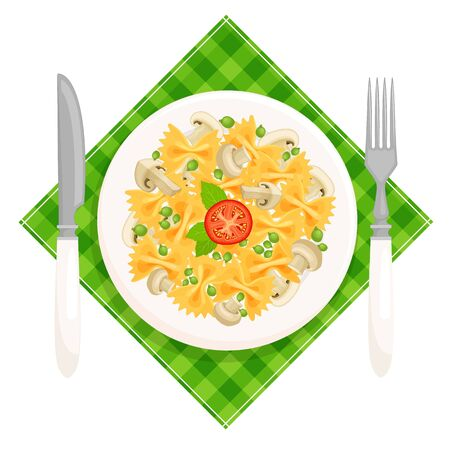 Pasta farfalle top view. The national dish of Italian cuisine. Plate with pasta mushrooms and green peas served on a napkin. Vector illustration in cartoon style isolated on white background.