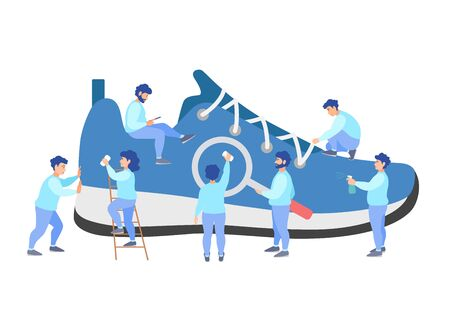 Dry cleaning shoes. A team of tiny people is cleaning a sneaker. Vector illustration in flat style. Banner for cleaning service.