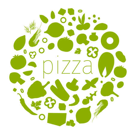 Vector round frame, stencil, template. Ingredients for pizza and place for text. Ilustrace