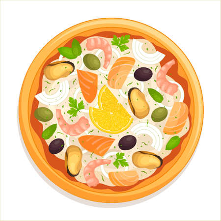 Seafood pizza isolated on a white background. Vector. Top view. Ilustrace