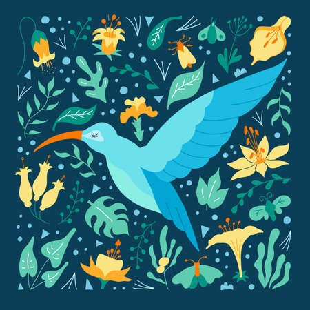 Hummingbird on a background of tropical foliage and flowers. Vector. Ilustrace