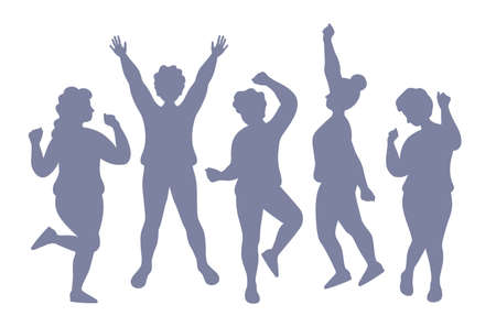 Silhouettes of dancing active people. Vector stencil isorated on a beta background. A crowd of people at a party have fun.