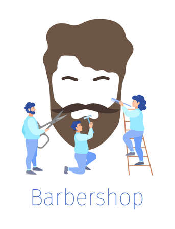 Hairdressers in a barbershop cut beard and hair. Vector concept.