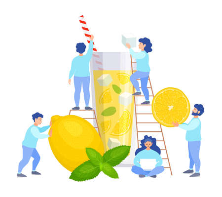 A team of tiny people make lemonade. Vector illustration in flat style. Men and women prepare a refreshing drink together. Cooking Lemonade Concept.