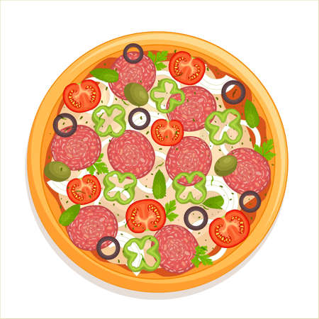 Pepperoni pizza top view. Traditional pizza with salami sausage, tomatoes, peppers and olives isolated on a white background. Vector illustration in cartoon style. Italian cuisine flatlay.