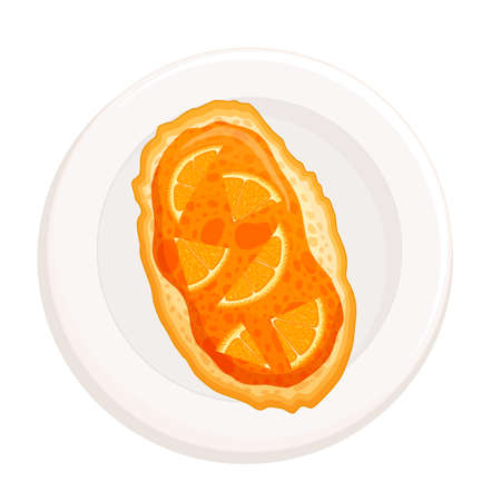 Bruschetta on a plate top view. Toast with orange jam Isolated on a white background. Sweet toast for breakfast. Vector illustration in flat style. Jam Sandwich.