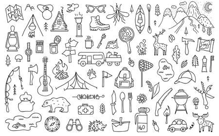 Set of outline camping theme elements. Symbols of tourism and outdoor activities in doodle style. Vector illustration. Hand-drawn travel elements. Ilustrace