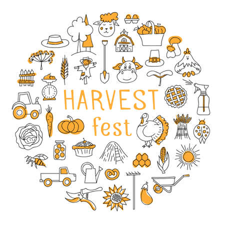 Harvest Festival. Round frame made of symbols of autumn, harvesting and farming. Thanksgiving card, poster, invitation or congratulation. Vector hand-drawn illustration in doodle style.
