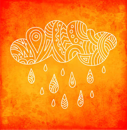 Autumn poster with cloud and drops drawn in doodle style. Vector colorful card on the theme of fall and rain. patterns. Template for creating a card.