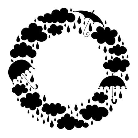 Frame from silhouettes of clouds, drops and umbrellas. Wreath with a place for text on the autumn theme. Vector stencil. Template that theme of rain and fall.