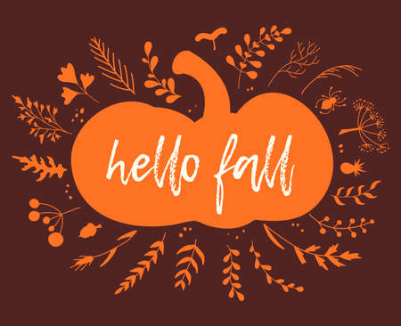 Hello fall card. Autumn poster template made of silhouettes of pumpkin, leaves, foliage and herbs. Colorful Thanksgiving stencil with place for text. Harvest theme.