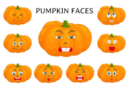 Pumpkin faces. Set of templates for halloween. Pumpkins isolated on white with different facial expressions. The characters are making faces. Collection of funny stickers