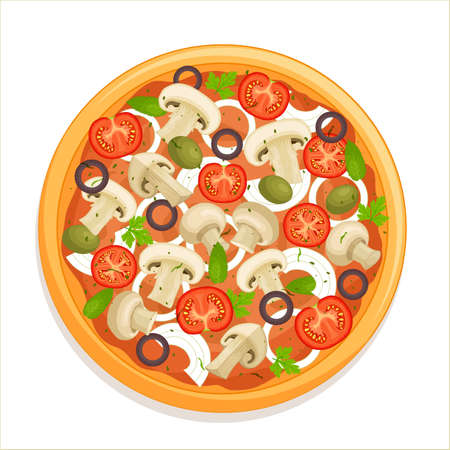 Capricciosa pizza top view. Traditional pizza with mushrooms, tomatoes and olives isolated on a white background. Vector illustration in cartoon style. Italian cuisine flat lay.