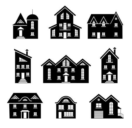 Set of silhouettes of houses isolated on white background. Vector template for creating a panorama of a city or street. Residential buildings and cottages icons. Collection of different homes.