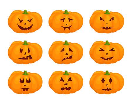 Set of jack-o-lantern. Halloween pumpkins with face isolated on white background. Illustration with pumpkin lantern. Vektorgrafik