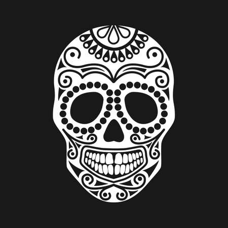 Halloween skull with ornament. Illustration of a sugar skull isolated silhouette. Template for tattoo. Human skull on the theme of pirates.