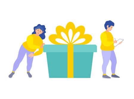 Festive delivery. Two women delivery with a big gift box isolated on white background. Service of congratulations and delivery of gifts.