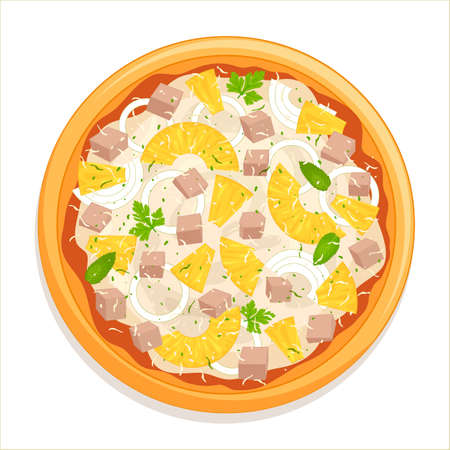 Hawaiian pizza isolated on white background with ingredients. Pizza top view.   Italian cuisine. Street food, fast food.