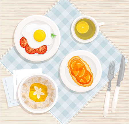 Breakfast on the table. Vector icon with cereal, sandwich, scrambled eggs and tea. Healthy food on plates top view.