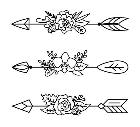 Set of boho arrows with flowers. Decorative vector divider for text. Tribal template in outline style. Boho chic print. Illusztráció