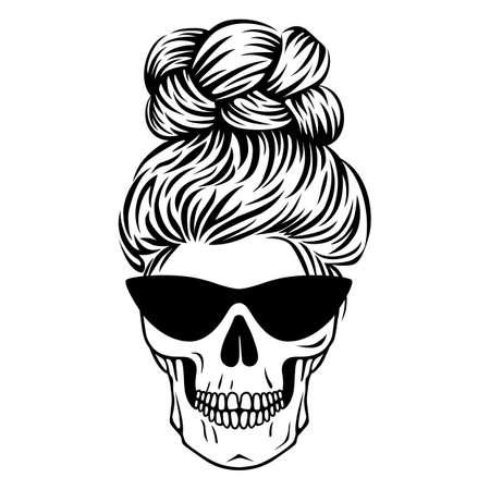 Mom life skull. Female skull with glasses with hair. Boho print in outline style. Vector Messy bun. Vecteurs