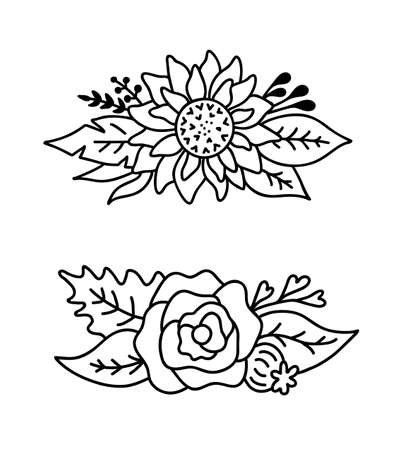 Set of flower bouquets isolated on white background.Vector outline illustration with sunflower and rose, leaves and branch.